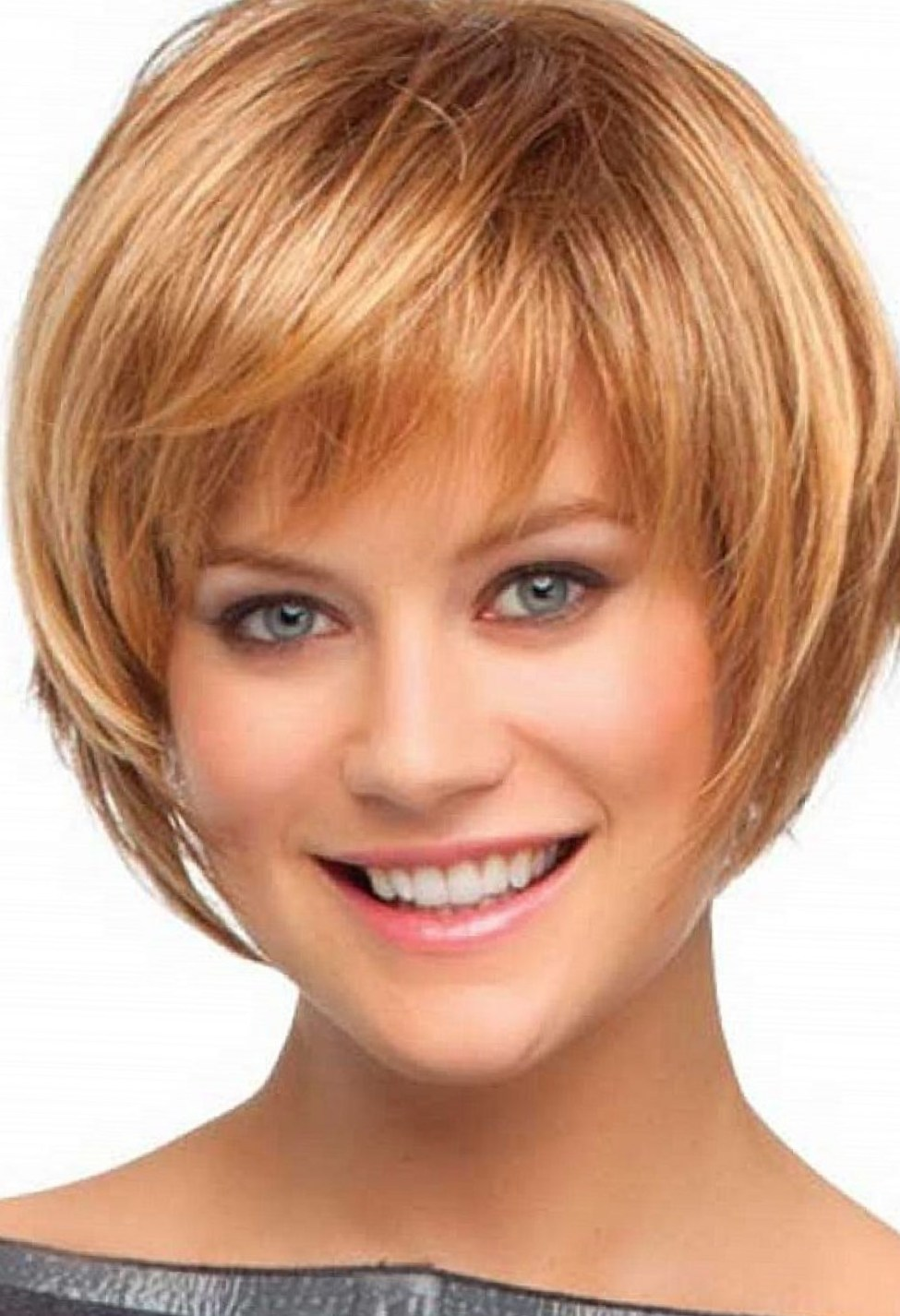 Bob haircut with bangs and layers